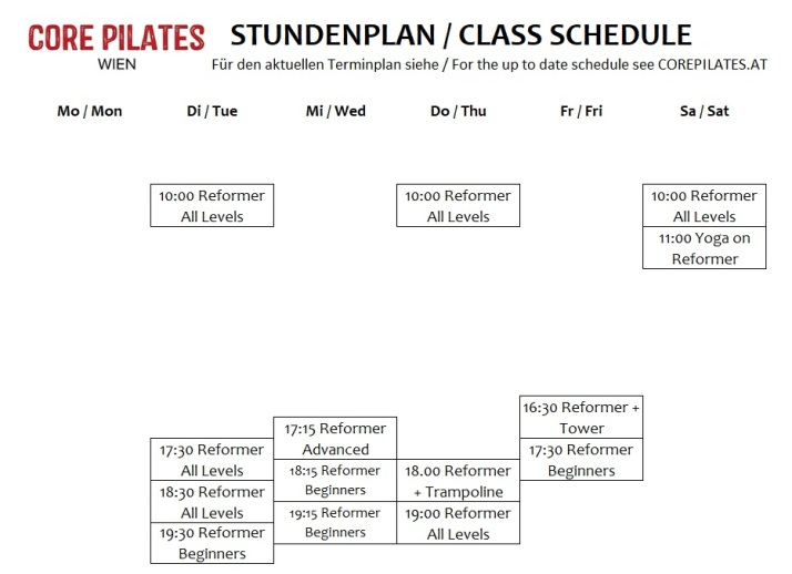 Pilates Studio Vienna Group Timetable